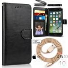 For iPhone 7 Plus Leather Stand Flip Wallet Cover Case+Glass