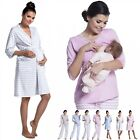 Zeta Ville - Women's Maternity Breastfeeding Robe Pyjamas Stripes Pattern - 394c