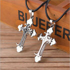 Simple Unisex Men White Black Stainless Steel Cross Pendant Necklace Chain Charm