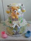 3 Tier Beary Beautiful Baby Diaper Cake Shower Gift Centerpiece Boy Girl Unisex