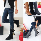 Hot Women's Winter Leather High Boots Ankle Booties Flat Shoes Back Lace US4-11