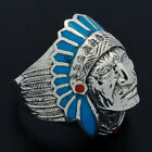 Solid Sterling Silver Blue Turquoise Red Coral Dot Indian-Head Chief Apache Ring