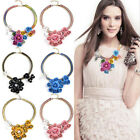 Choker Collar Crystal Pendant Jewelry Statement Chunky Flowers Necklace Jewelry