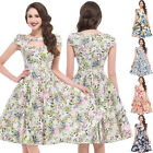 New Women Vintage Retro Floral Dress 50s 60s Casual Cocktail Pleated Pinup Swing