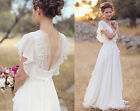Short Sleeve Simple Beach Wedding Dresses A Line Long Chiffon Bridal Gowns WD006