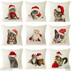 Xmas Cat Home Sofa Decoration Festival Throw Waist Pillow Case Cushion Cover