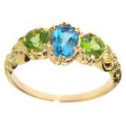 10k Yellow Gold Natural Blue Topaz & Peridot Womens Trilogy Ring - Sizes 4 to 12
