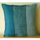 """Blue Color Block 14""""x14"""" Silk Pillows Covers For Couch - Shades Of Teal"""