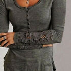 Tops Blouses - Womens Fashion Long Sleeve Shirt Casual Lace Blouse Loose Cotton Tops T Shirt