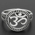 925 Sterling Silver OHM AUM OM Yoga Mantra Antique-Finish Ring