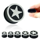 WHITE STAR BLACK SILICONE EAR PLUGS Stretchers Jewellery Piercing Tunnels PL113