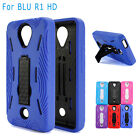 BLU R1 HD Case Heavy Duty Kickstand Case Full Body Protector + Tempered Glass