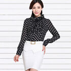 Woman Butterfly Dots Pattern Stand Collar Long Sleeved Shirt Bodysuit LO