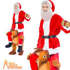 Adult Ride A Reindeer Costume Santa Riding Rudolph Christmas Fancy Dress New