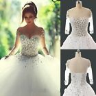 New White Long Sleeve Sweetheart Ball Gown Wedding Dress 4 6 8 10 12 14 16 18
