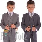 Boys Suits Fitted Grey Wedding Pageboy Suit 5pc Mid Grey, Light Grey