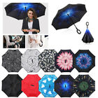 Reverse Inverted Umbrella Double Layer Folding UV & Windproof C-Shaped Handle