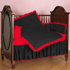 Unisex Baby Crib Bedding Ruffle Reversible Bumpers Set Solid Colors