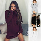 New Winter Women Cotton Turtleneck Pullover Long Sleeve High-neck Sweater Dress