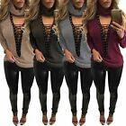 Women Low Cut V Neck Chocker Ribbed Knit Jumper Sweater Lace-up Top Shirt Blouse