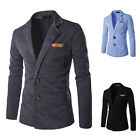 Men's Casual Slim Fit Formal Two Button Suit Blazer Coat Padded Warm Jacket Tops