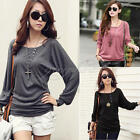 Women Crew Neck Bat Long Sleeve Shirts Tops Casual Loose T-Shirt Blouse S M L