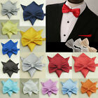 Tuxedo Men Woven Party Silk Solid Necktie Bow Tie Pocket Square Set Wedding