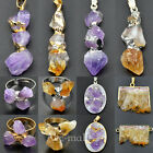 New Natural Amethyst Citrine Geode Gemstone Freeform Pendant Ring Necklace Beads