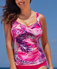 Tropiculture Pink Pitaya Twist Ruched Front Tankini Top Cup C - D  Sz 18