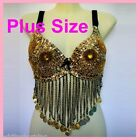 PLUS SIZEBelly Dance Bra Top Coins Dancing Costume AR04 XL