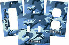 PERSONALIZED CAMOFLAGE SHADES OF BLUE ARMY CAMO SWITCH PLATE COVER OUTLET COVER
