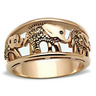 Women's Elephant Caravan Crystal Citrine Rose Gold Plated Fashion Ring Size 5-11