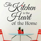 The Kitchen is the Heart of the Home Red Heart Quote Vinyl Wall Sticker Decal