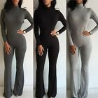 Women Casual Slim Turtleneck Bodysuit Playsuit Jumpsuit Romper Trousers Pants