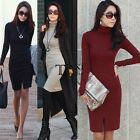 Women Dress Sweater Long Sleeve BodyCon Turtleneck Party Cocktail Winter 2 TXSU