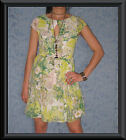 Garden Party Floral Print Short Sleeve Keyhole Silky Smock Cocktail Races Dress
