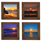 Ocean Sunset Home Decorative Framed Ceramic Tile Wall Plaque Entry Stand