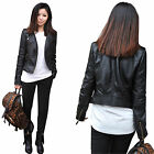 Women's Punk soft PU Leather Motorcycle Zipper collar Coat Biker Jacket