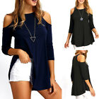 Womens Ladies Cold Cut Out Shoulder Long Sleeve T Shirt Hem Top Loose Blouse
