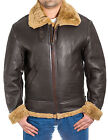 Mens Brown Ginger Aviator Sheepskin RAF Classic Pilot WW2 Flying Bomber Jacket