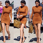 Women's Faux Suede Bodycon party Dress 2016 New Ladies Fall Long Sleeve Casual a