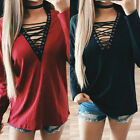 Women V Neck Lace-up Tank Blouse Tie Casual Loose Long Sleeve Tops Shirt