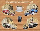 1920s CLASSIC CAR MOUSEMAT & COASTER GIFT SET PERSONALISED FREE OF CHARGE