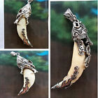 Big 1x Tooth Bone Carved Dragon Wolf Head Cap Tibet Amulet Pendant Necklace FS