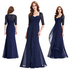 Womans Pretty Half Sleeve Lace Chiffon Evening Prom Party Long Dress Navy Blue