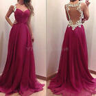 Sexy Women's Girls Backless Lace Floral Formal Cocktail Floor-Length Long Dress