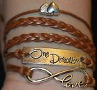 ONE DIRECTION SILVER BRONZE INFINITY Brown Green LOVE BRAIDED LEATHER BRACELETS