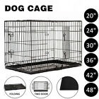 Folding Dog Pet Cage Collapsible Metal Crate Kennel House Playpen w/ABS Tray