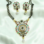 24k gold & rhodium plated Simulated CZ Mangalsutra With Chain & Earring set M476