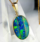 MOSAIC PRESTIGE* 12.9cts AUST Opal inlay on black boulder 14k solid gold pendant